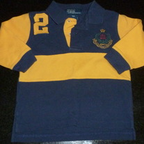 Navy/Yellow Long Sleeve Polo Shirt-Polo Ralph Lauren Size 18 Months