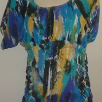 Black/Yellow/Blue Short Sleeve Shirt with Ruched Sides-One Step Up Size 1X
