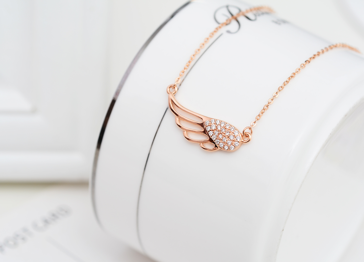 Sterling silver rose gold plated diamante cubic zirconia hollow sterling silver rose gold plated diamante cubic zirconia hollow angel wing pendant necklace jewelry thumbnail aloadofball Choice Image
