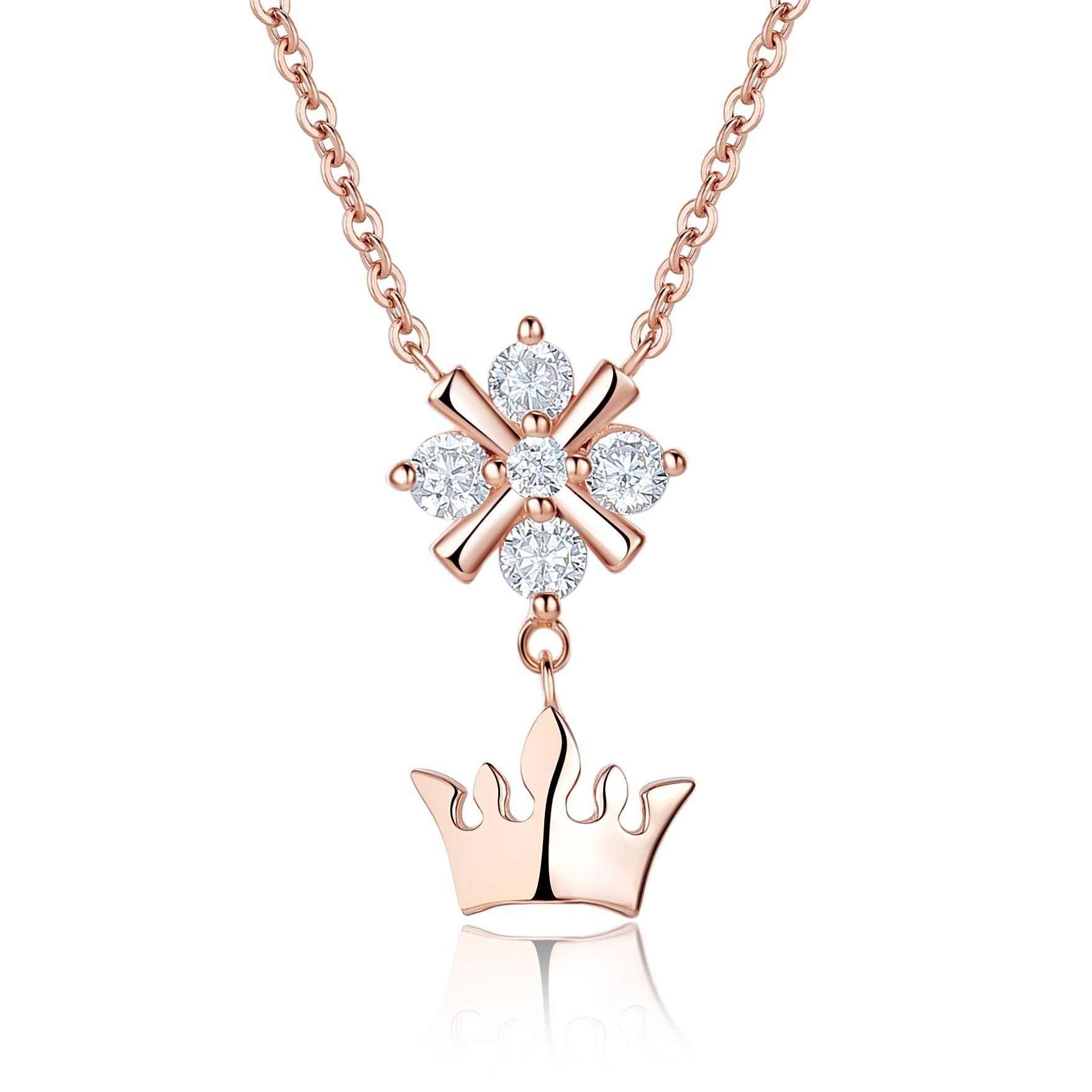 products dancing heart sterling for silver new cz kigmay crown buckingham pendant jewelry necklace york