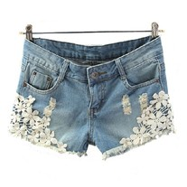 Denim Short with Lace Flower