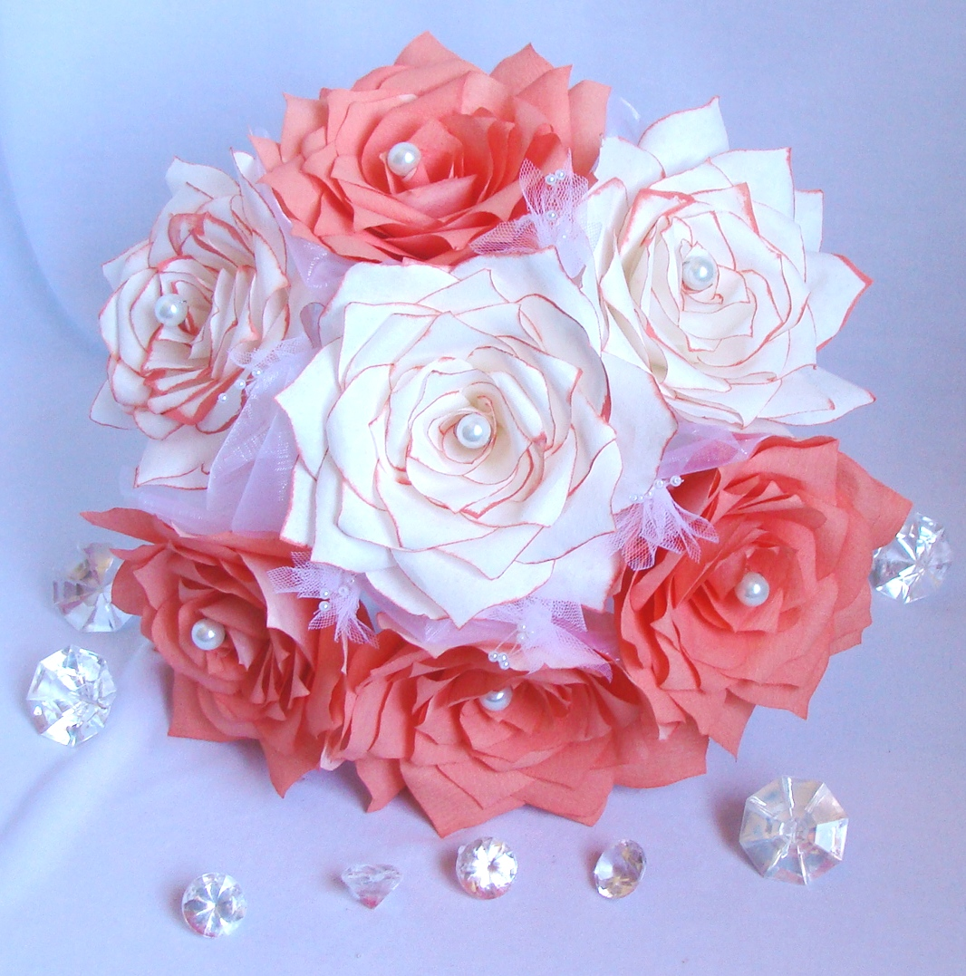 Lovely Coral And White Paper Flower Bouquet Coral Bridal Bouquet