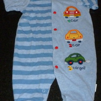 Blue Long Sleeve Romper with Cars-Little Me Size 3 Months