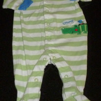 Green/White Stripe Sleeper with Alligator-Carter's Size 3 Months