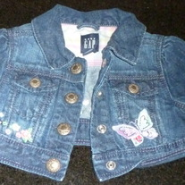 Short Jean Jacket with Butterflies-Baby Gap Size 12-18 Months
