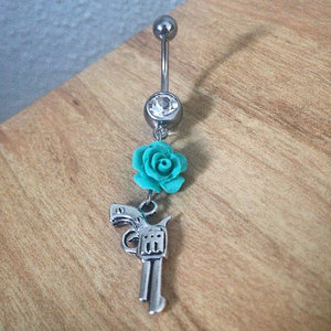 Pistol with Rose Belly Ring