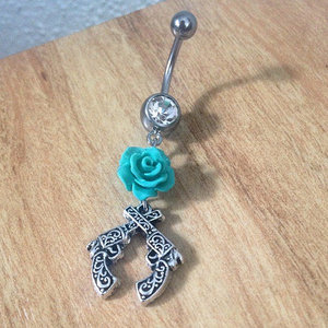 Crossed Guns with Rose Belly Ring