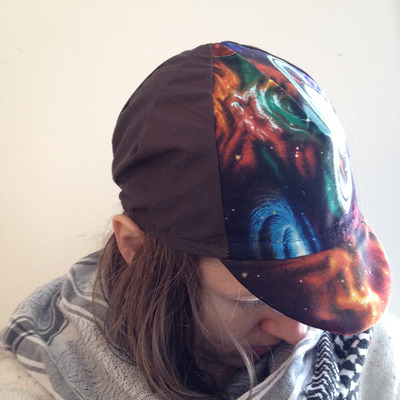 Space & brown cycling cap