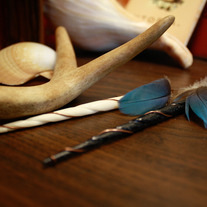 Feather and Horn Spear Earrings