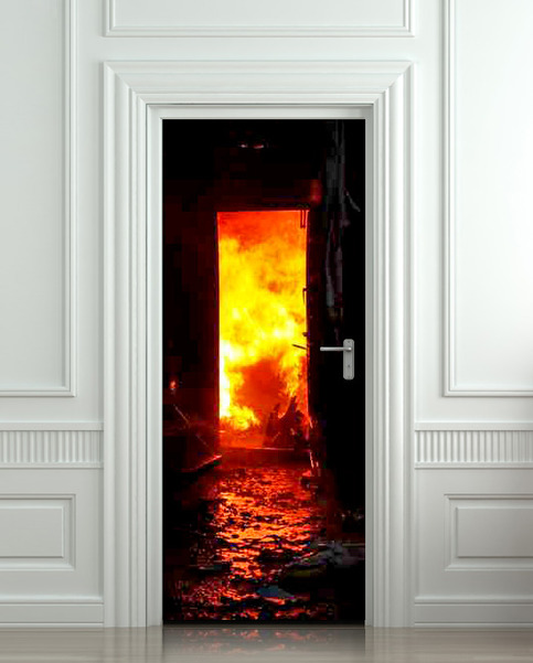 Wall Door Sticker Fire Fireman Conflagration Flame Flare