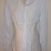 White/Blue Pin Stripe Shirt with Buttons/Collar-Gap Maternity Size Large