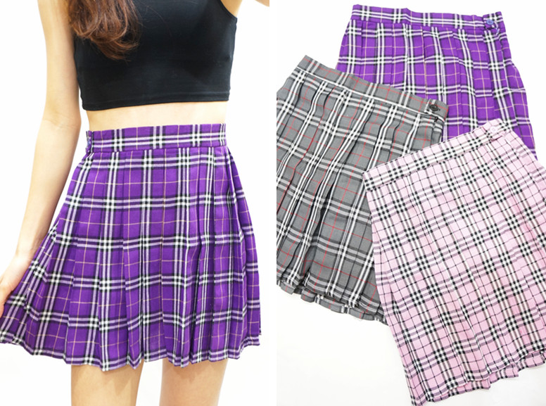 Purple Plaid Pleated Skirt - Purple XS · Sandysshop · Online Store ...
