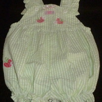 Green Sleeveless Romper with Strawberries-Class Club Baby Size 3 Months