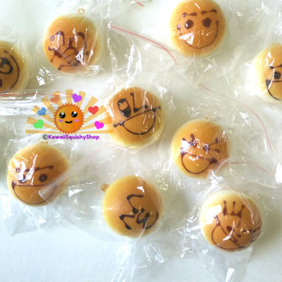 Mini face/emoticon bun squishy cell phone charms
