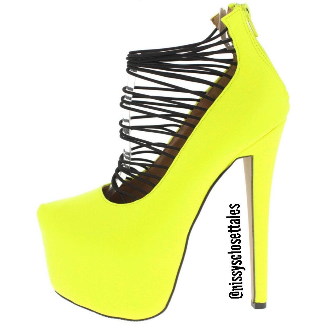 Neon Yellow Platform Heels