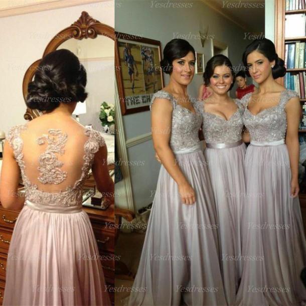 Long bridesmaid dress, custom bridesmaid dress, cap sleeve ...