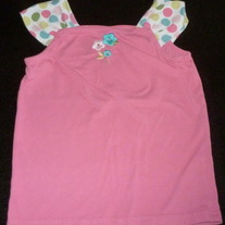 Pink Tank with Polka Dot Sleeves/Flower-Gymboree Size 7