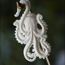 4g Octopuses - Bone Earrings