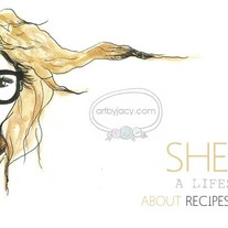 """She Lives"" Illustrated Premade Blog Banner with Navigation Links"