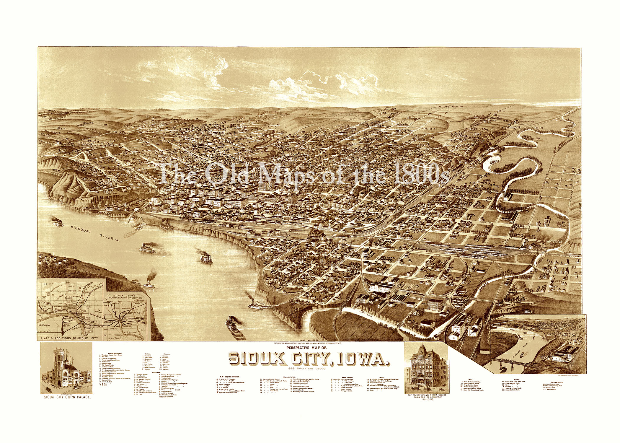 Sioux city iowa in 1888 bird 39 s eye view aerial map for Craft stores in sioux city iowa