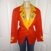 Vintage Red/Orange Blazer with yellow Size 12!