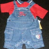 Overalls with Baseball and Matching Shirt-NEW-Beluga New York Size 6-9 Months