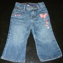 Denim Jeans with Butterflies/Flowers-Baby Gap Size 12-18 Months