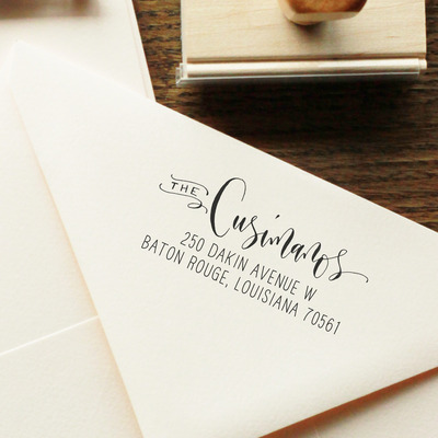 Custom calligraphy address stamp -- mixed calligraphy and type - rebel stout style
