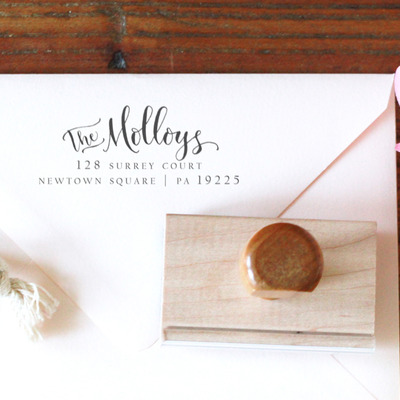 Custom handwritten calligraphy address stamp -- mixed calligraphy and type - elle style