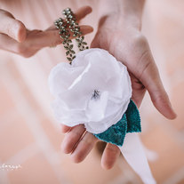 Linen Flower and Beaded Headband or halo - 2013 bridal collection