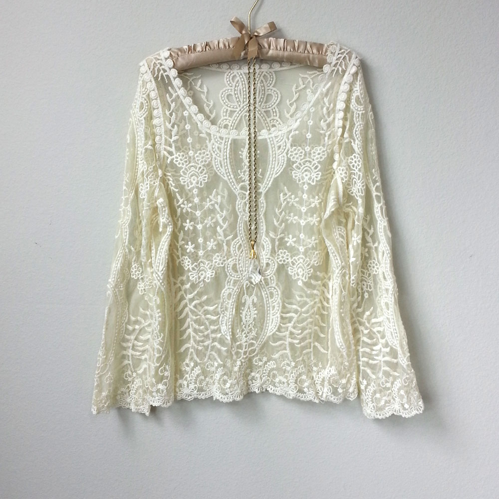 Great Gatsby Romantic Long Sleeve Sheer Ivory Lace Blouse, Scoop ...