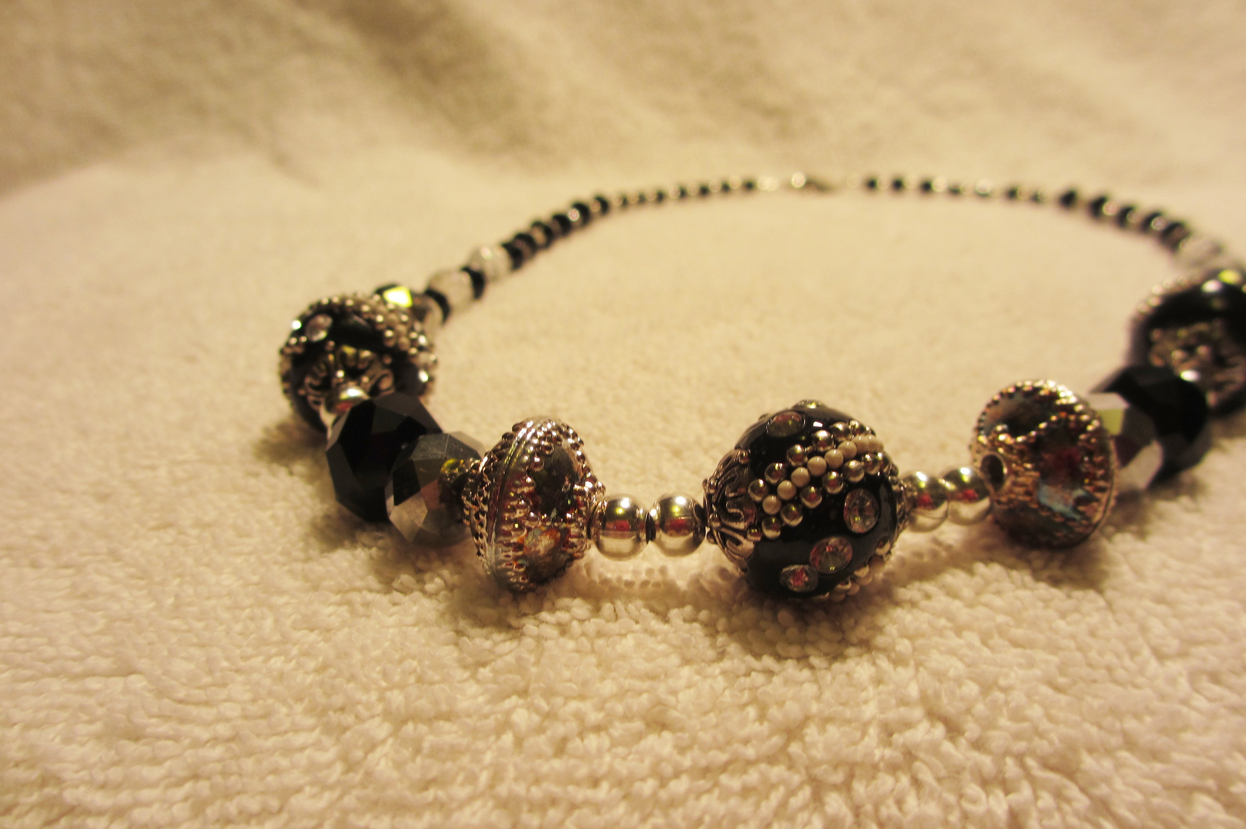black and silver beaded necklace 183 churroscharms 183