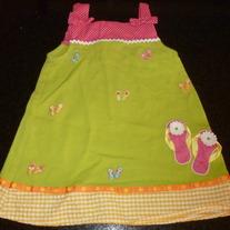 Green/Pink/Yellow Dress with Flip Flops-Sweet Heart Rose Size 2  GS413