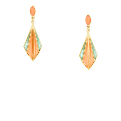 Citrus deco earrings - coral and mint