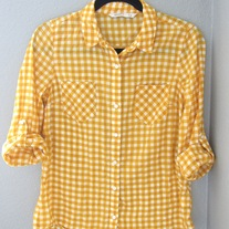 Yellow Gingham Camp Shirt
