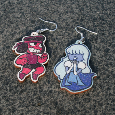 Ruby & sapphire earrings & keychains