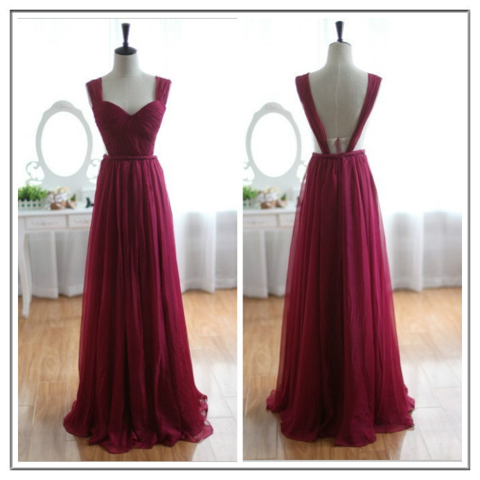 Chiffon Wine Dress