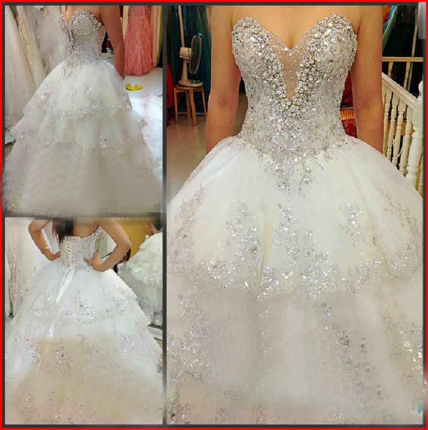 YZ Limited Luxury White Bandage Crystal Court Train Ball Gown · YZ ...