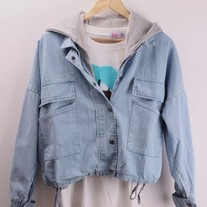 Denim Jacket with Detachable Hooded Tank