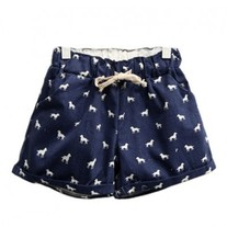 Dog print denim shorts