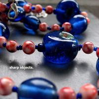 Cobalt Brick - chunky handmade glass beaded necklace - Thumbnail 1