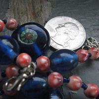 Cobalt Brick - chunky handmade glass beaded necklace - Thumbnail 3