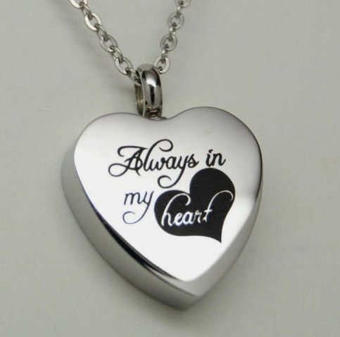 Aways in my heart urn locket cremation jewelry necklace for Jewelry to hold cremation ashes