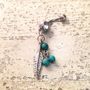 Silver Feather Belly Ring