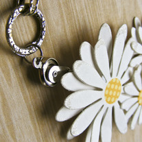 Paper Daisy and Silver Chain Necklace