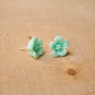 Teal flower studs  - Thumbnail 2