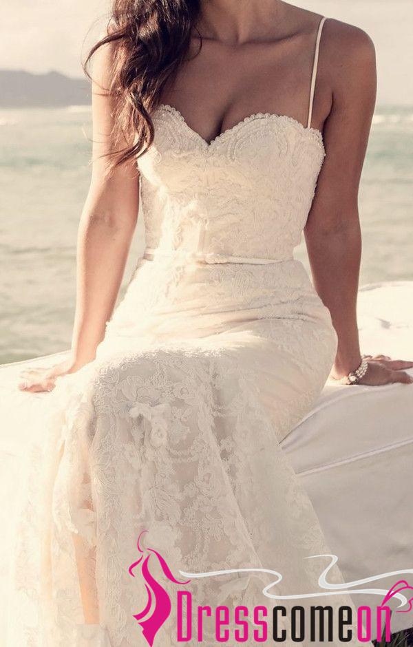 Beach Lace Wedding Dresses Romantic Mermaid Spaghetti ...