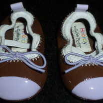 Purple/Brown Leather Crib Shoes-Hooray by Cynthia Rowley Size Newborn