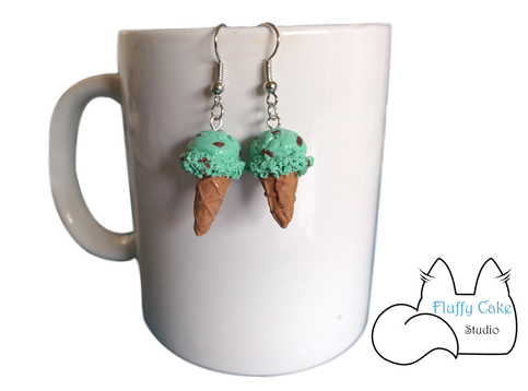 Mint Chocolate Chip Ice Cream Earrings · Fluffy Cake Studio · Online ...