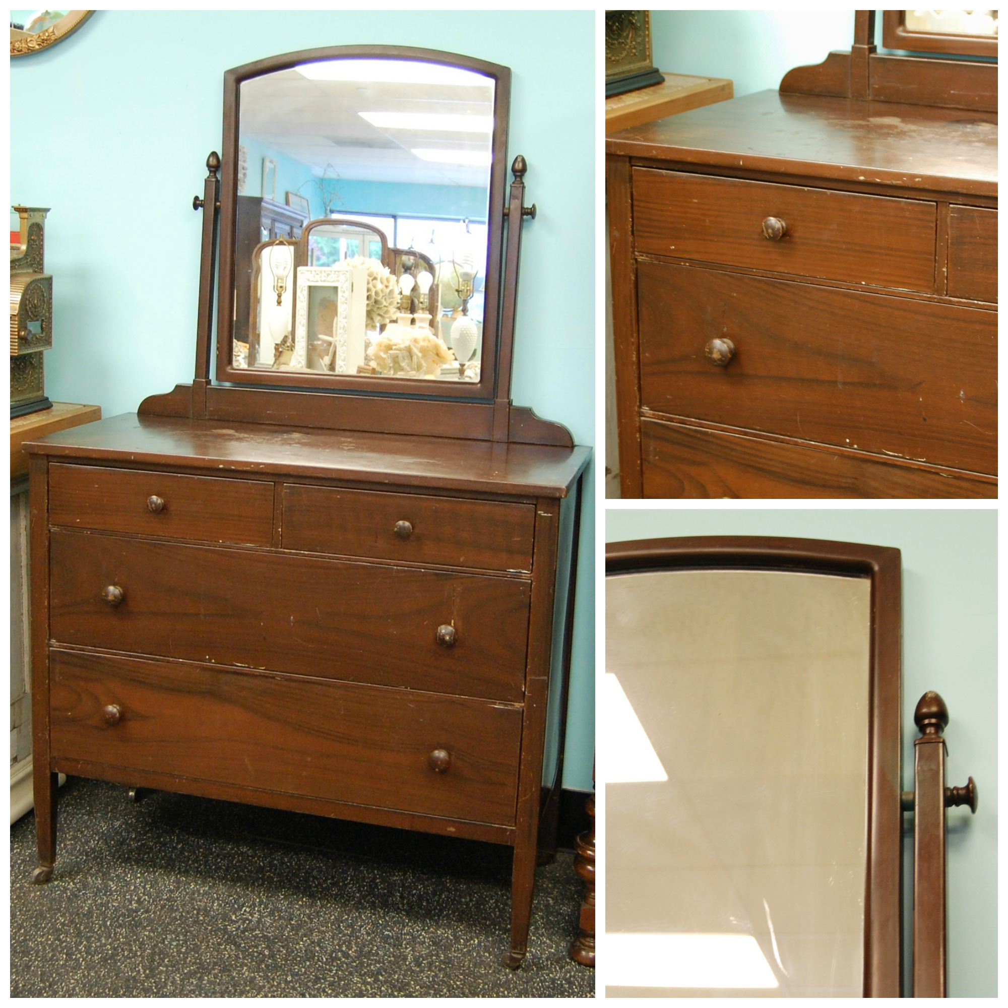 1930s Metal Simmons Dresser With Mirror